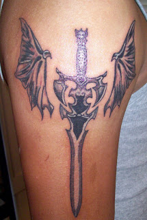 broadsword wing angel tattoos