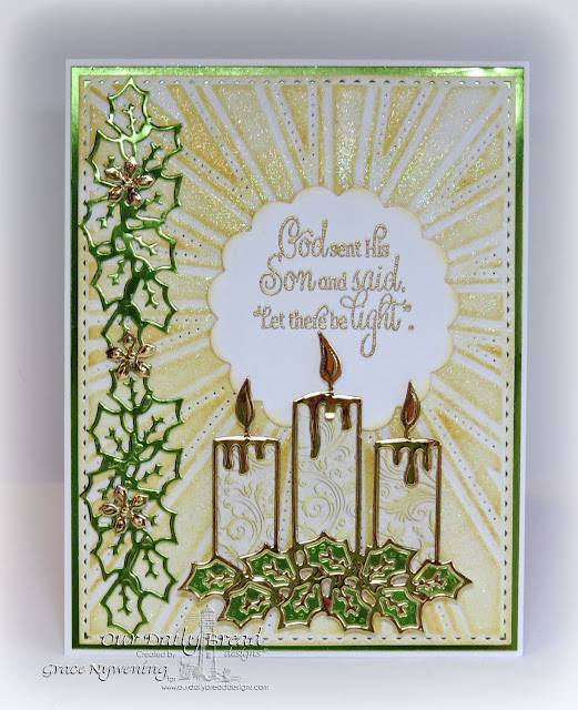 ODBD products: Christmas Candles, Perfect Light stamps, Sunburst Background die, Recipe card and tags die, Christmas Card Collection 2015; Designed by Grace Nywening