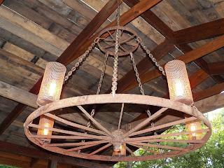Life Is Grand Wagon Wheel Light Fixture
