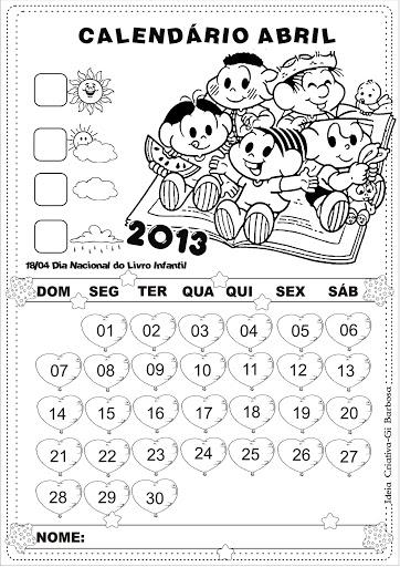 Calendário Abril 2013 Turma da Mônica