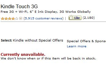 Kindle Touch 3G agotado en EE.UU.
