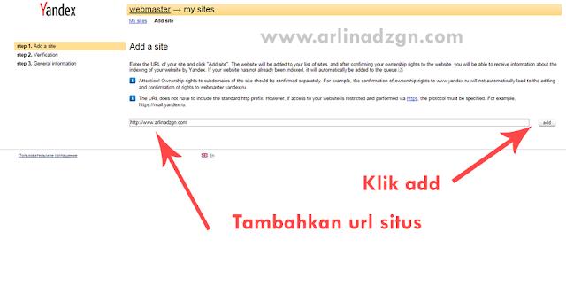 Tambahkan situs di Yandex