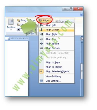 Gambar: Cara menampilkan toolbar align untuk merubah spasi grid di microsoft word 2007