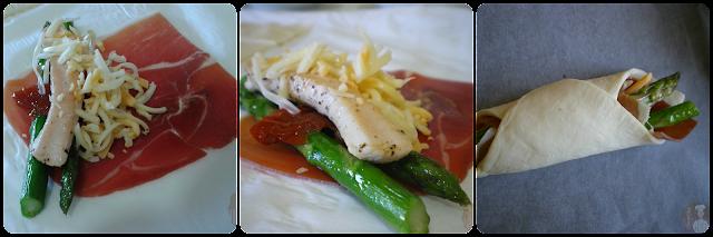 Hojaldritos de serrano y trigueros: Relleno con pollo