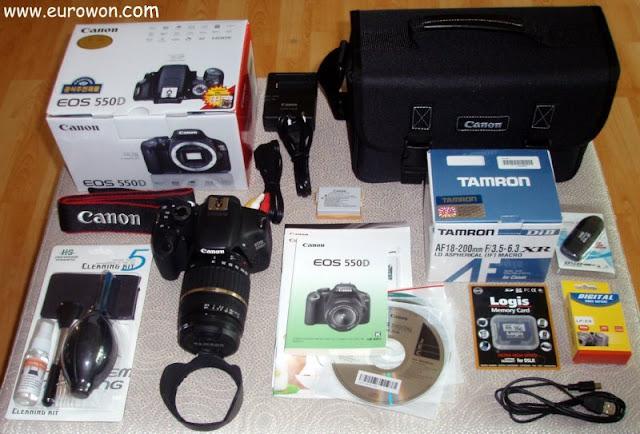 Canon EOS 550D y pack completo de accesorios