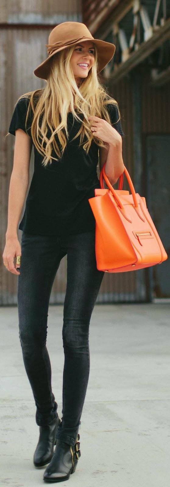 Black Dress With Orange Bag