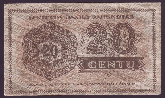 Lithuania Paper Money Centas 20 Centu Banknote Of 1922