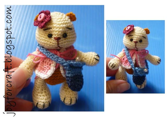 crochet miniature bear thread design pattern cute blouse bag gift