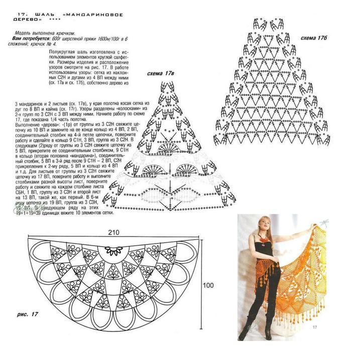 Вязание крючком полукруглых шалей 668