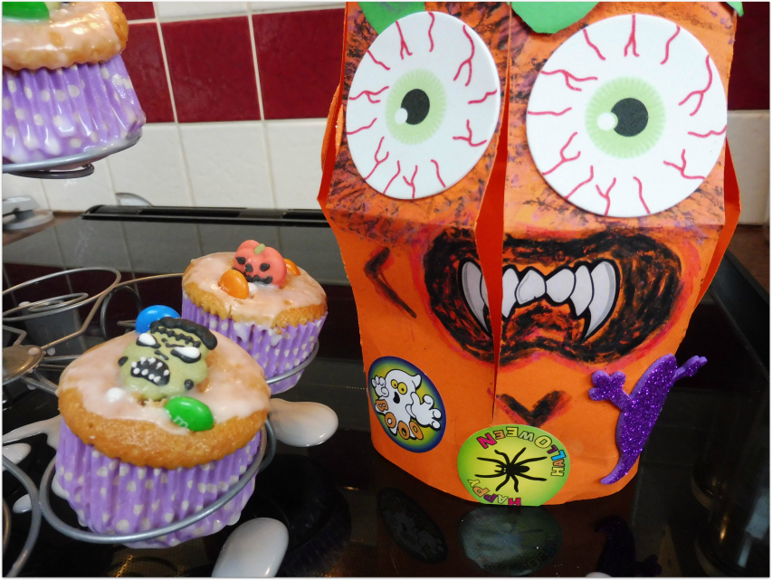 Halloween Cupcakes decorated with M&Ms