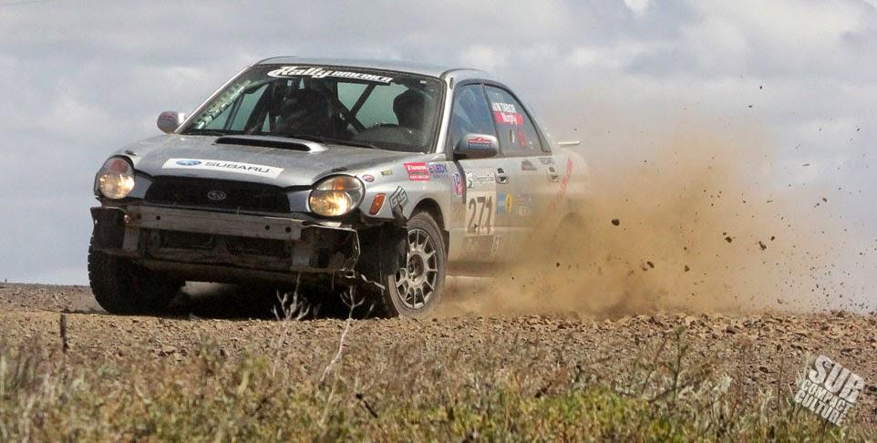 Silver WRX rally car