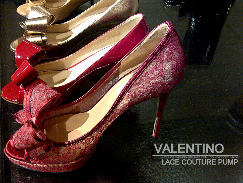 Valentino Red Lace Couture Peep Toe Pump With Bow - Women Shoes Fashion Trends Spring Summer 2013