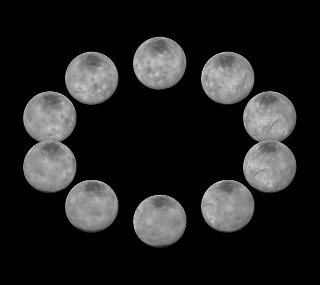 In July 2015, New Horizons captured images of the largest of Pluto's five moons, Charon, rotating over the course of a full day. The best currently available images of each side of Charon taken during approach have been combined to create this view of a full rotation of the moon.  Credit: NASA/Johns Hopkins University Applied Physics Laboratory/Southwest Research Institute