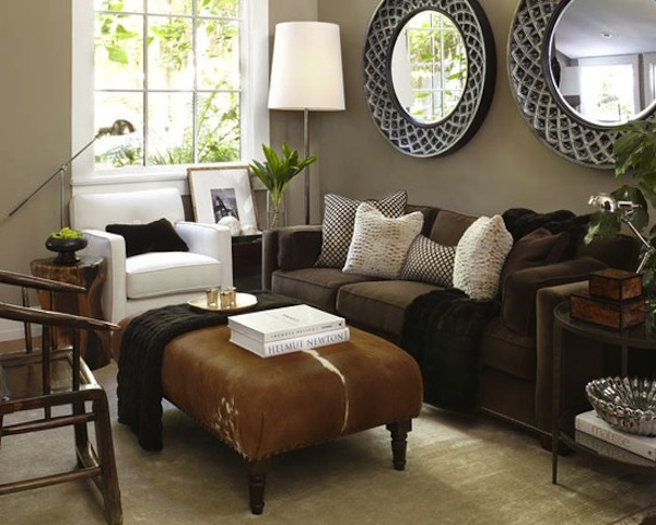 Living Room Wall Color with Brown Couch
