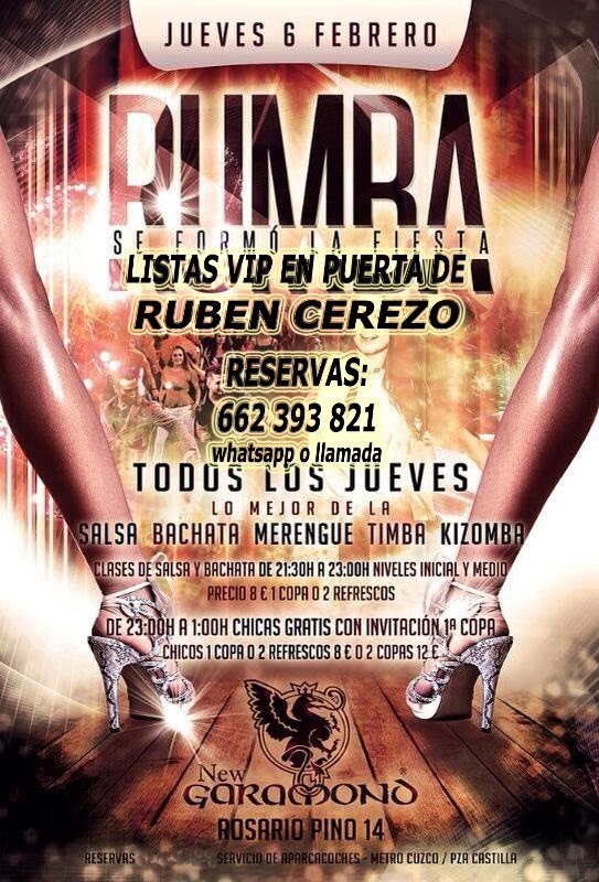LISTAS NEW GARAMOND JUEVES, 6 DE FEBRERO: RUMBA - NEW AFTERWORK