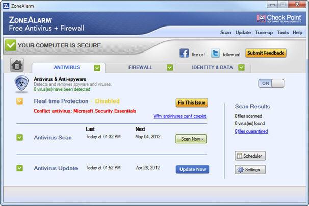 ZoneAlarm Free Antivirus Plus Firewall 2013 - Antivirus Engine