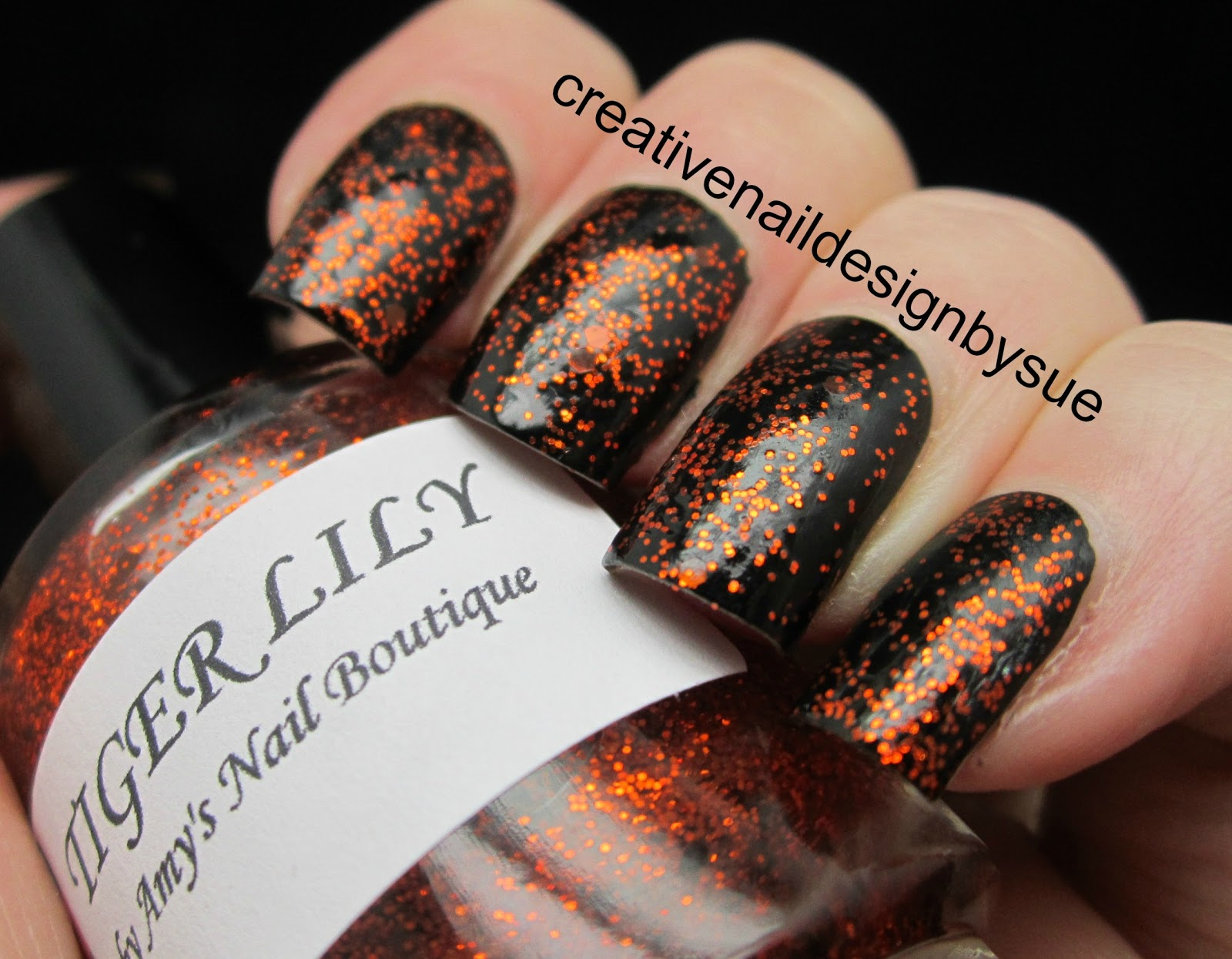 Creative nail design by sue october 2012 this is over china glaze liquid leather only one coat of tiger lilly and it went on beautifully like all of amys polishes prinsesfo Image collections