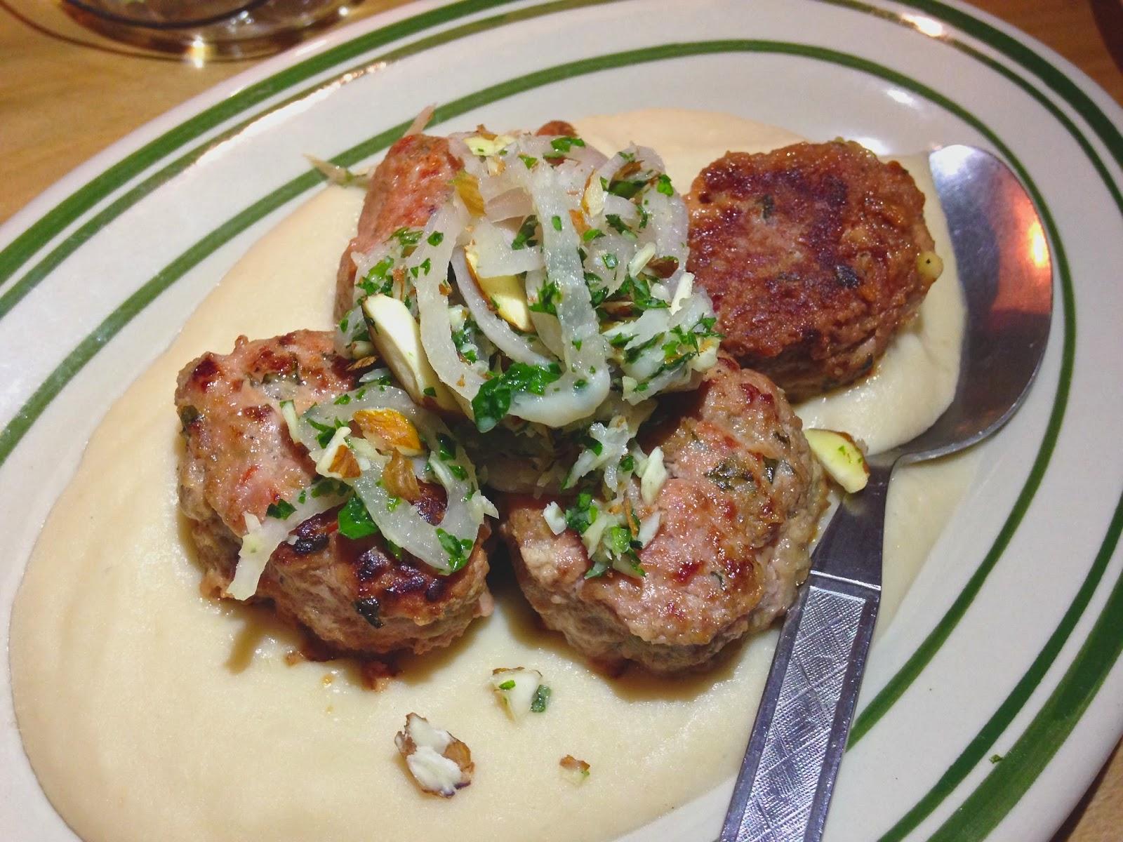 Albondigas: Pork & Veal Meatballs, White Bean Puree, Almonds