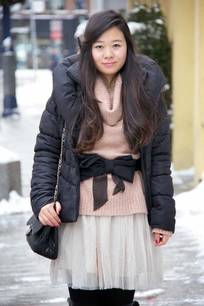 Fashion-Blogger, Padded-Winter-Coat, Bow-Belt, Black-Boots