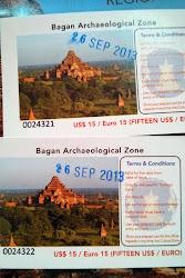 Ticket de entrada a la zona de Bagan