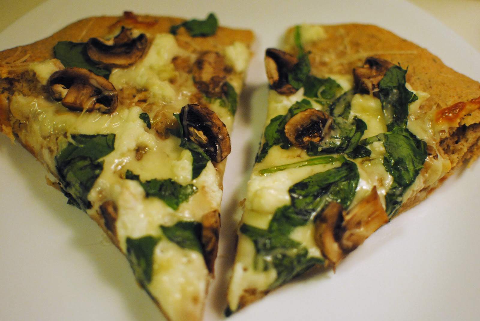Garlic & Spinach White Cheese Pizza - Feathers in Our Nest
