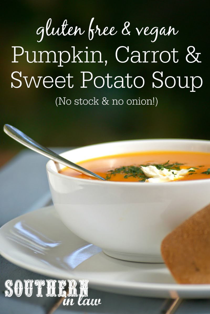 Vegan Pumpkin Carrot and Sweet Potato Soup Recipe without Onion | Healthy, low fat, gluten free, vegan, sugar free, clean eating friendly