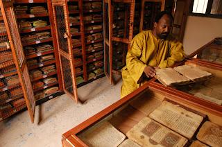 Malian librarian reading