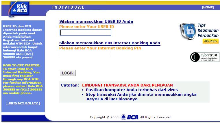 cara menghapus data nomor rekening internet banking bca