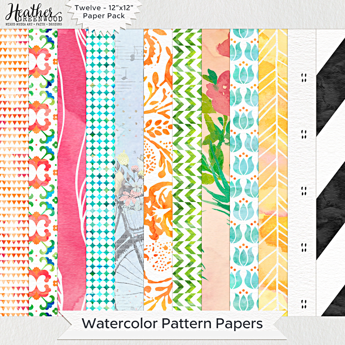 "Watercolor Pattern Papers | 12 x 12"" digital papers by Heather Greenwood Designs"