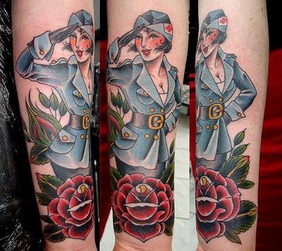Tattoo of Nurse Woman in Blue Uniform