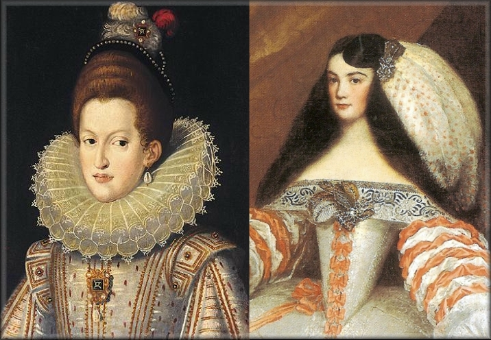 la izquierda la reina margarita de austria en 1609 luciendo una