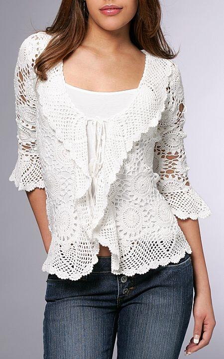 linhas e agulhas blusa croch manga longa   inspira o