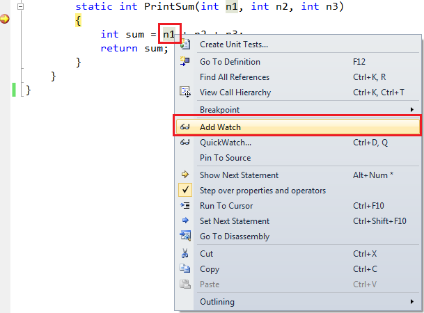 adding a variable to watch window in visual studio