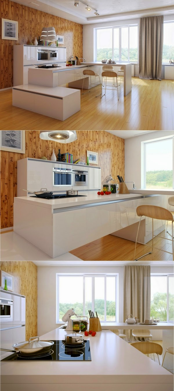 Fascinating Ideas For Modern Kitchen Worktops Of Wood And