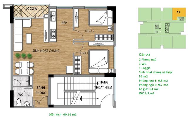 Căn hộ A2 diện tích 60,36 m2 tầng 4-15 - Valencia Garden