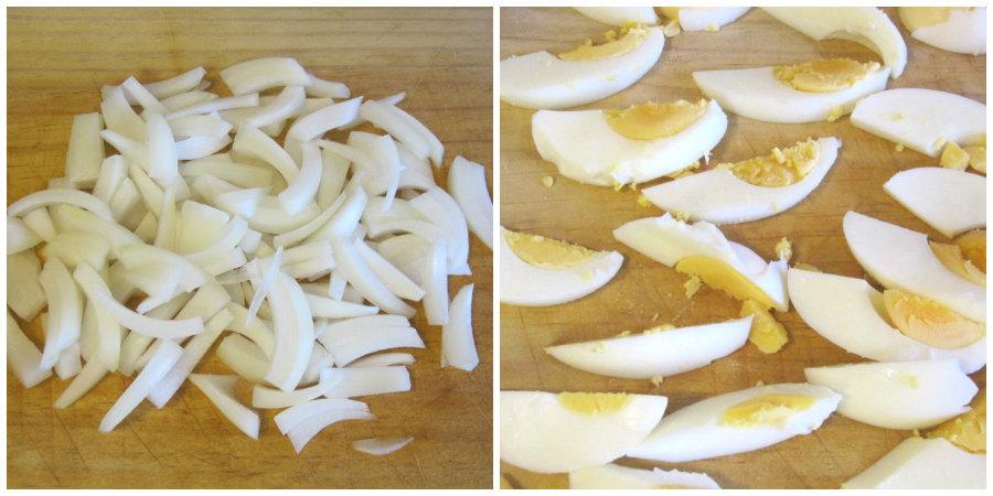 Mojete: cebolla y huevo