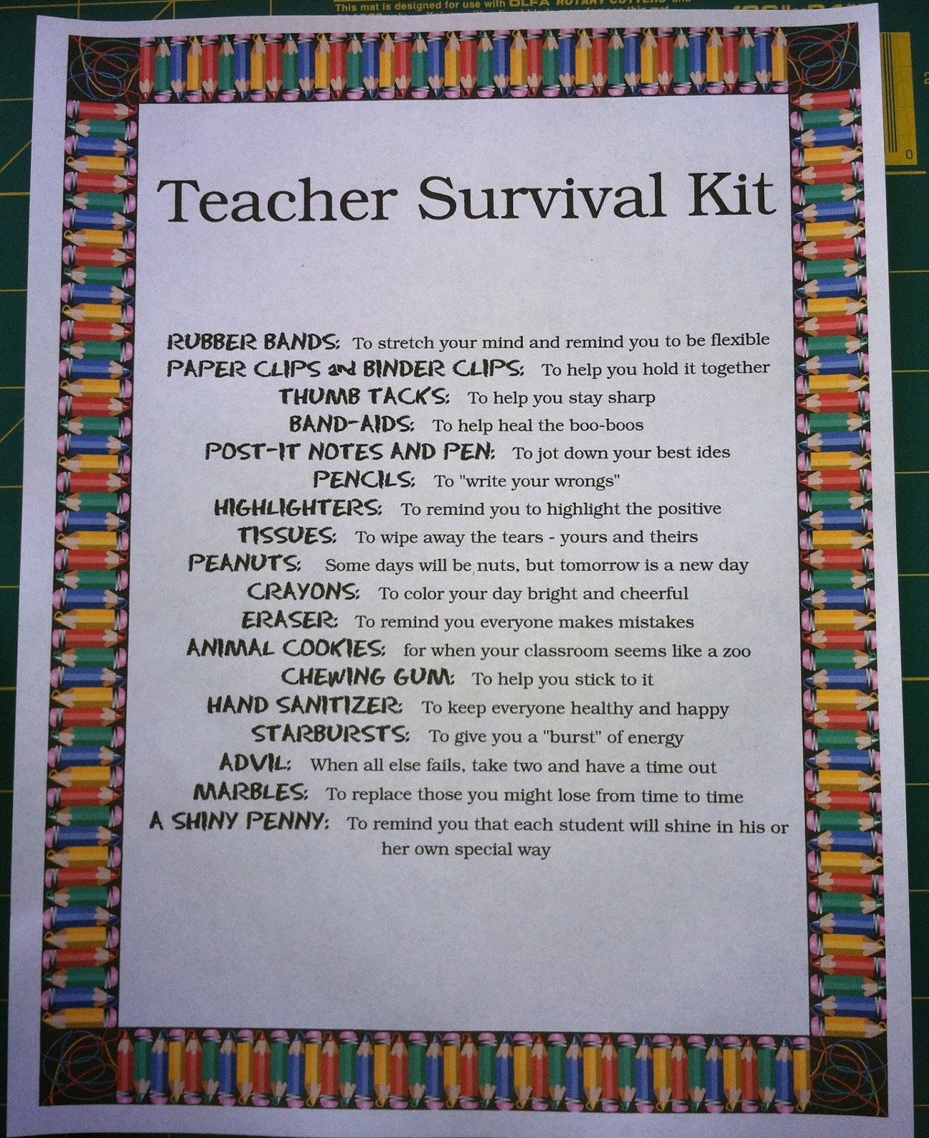 For The Joy of Creating: Teacher Back To School Survival Kit