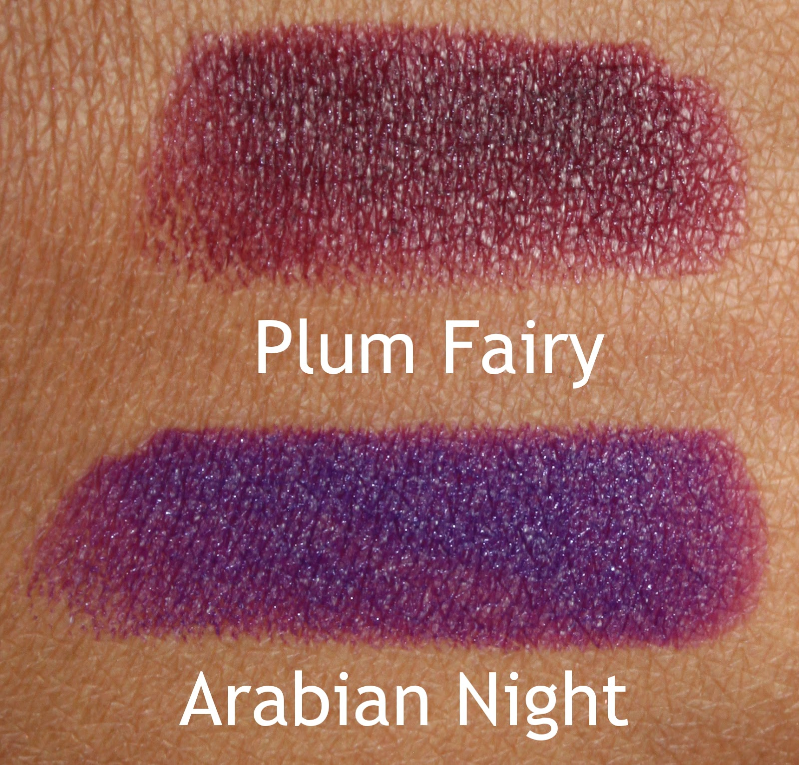 coloured raine lipstick swatches plum fairy arabian night