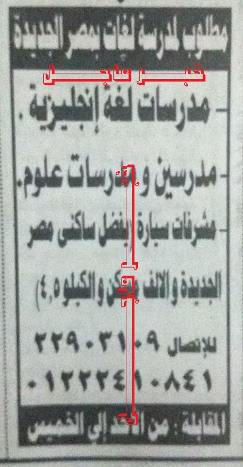 مدرسين ومدرسات للعمل داخل جمهورية مصر العربية والمقابلات حتى 3 / 9 / 2015