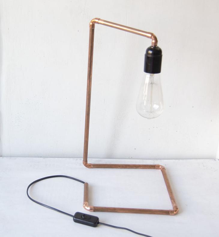 Oro y menta lampara de cobre con bombilla vintage diy for Lampara con forma de bombilla