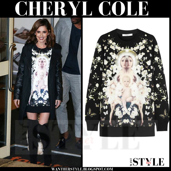 Cheryl Cole in black Madonna with child print givenchy sweatshirt what she wore
