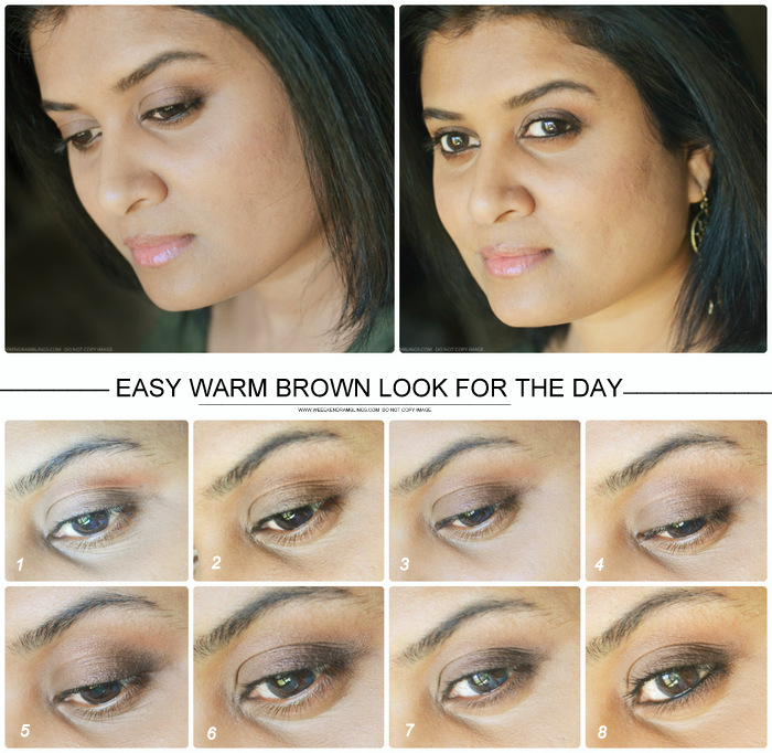 Warm Brown Eye Makeup Look for the Day Easy Tutorial How to Steps