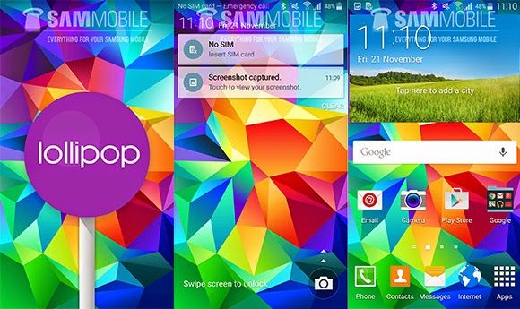 tampilan android v5.0 lollipop samsung galaxy s5