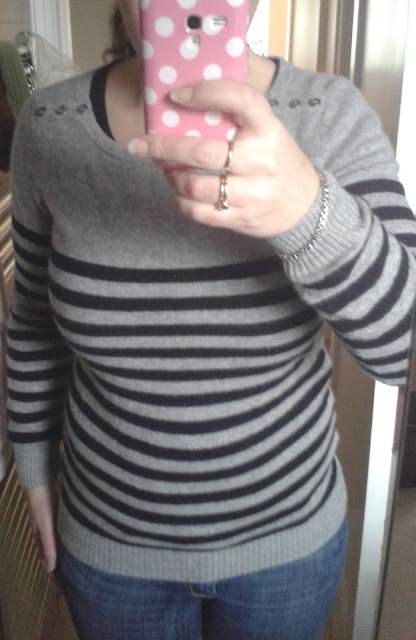 My New F&F Signature Striped Slash Neck Cashmere Jumper