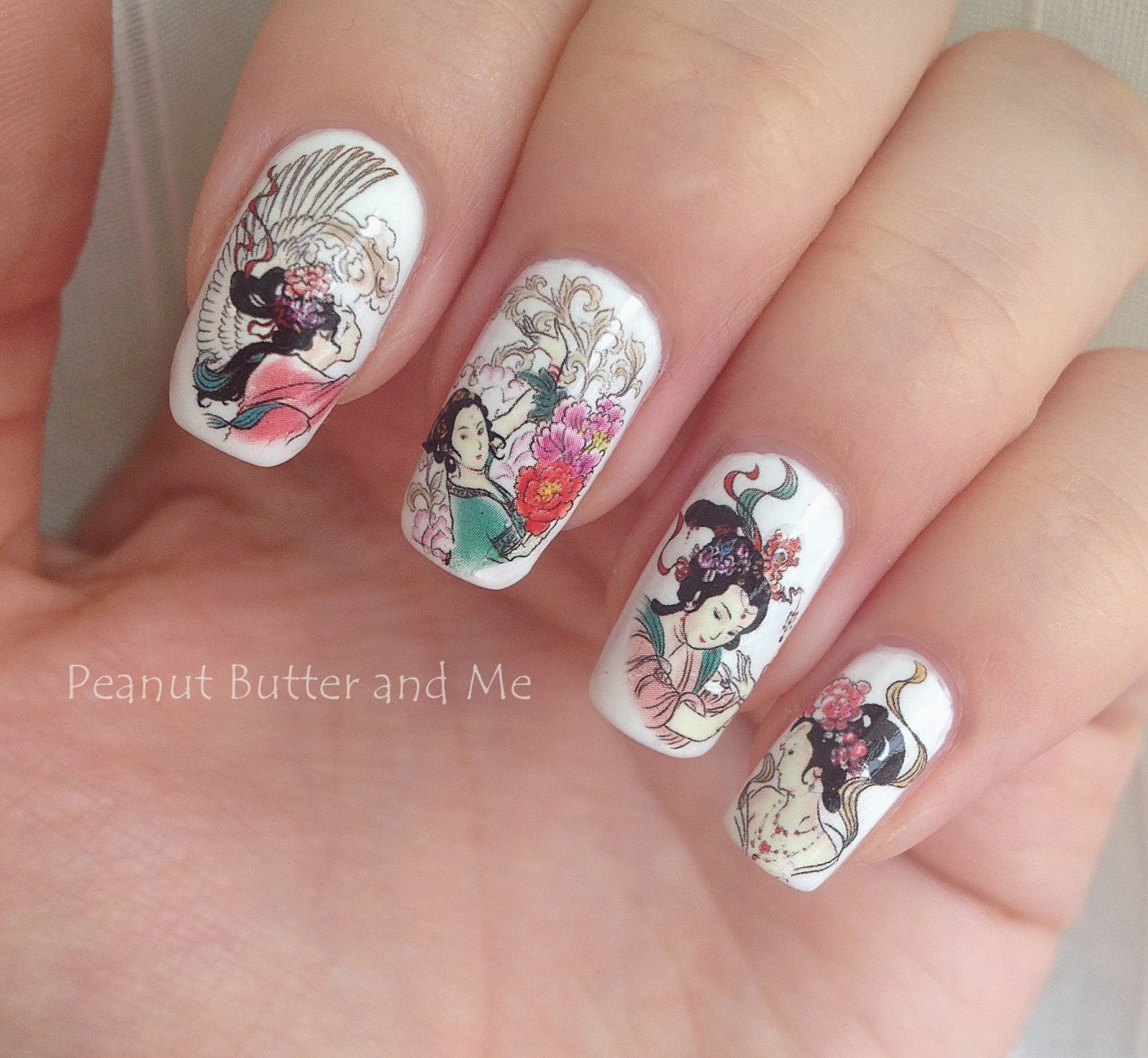 Water Nail Decal Geisha Design white nails china japan