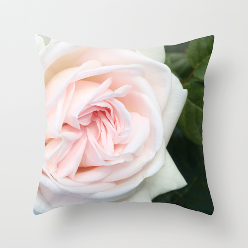 home decor - blush white rose and green leaves pillow / catherine masi