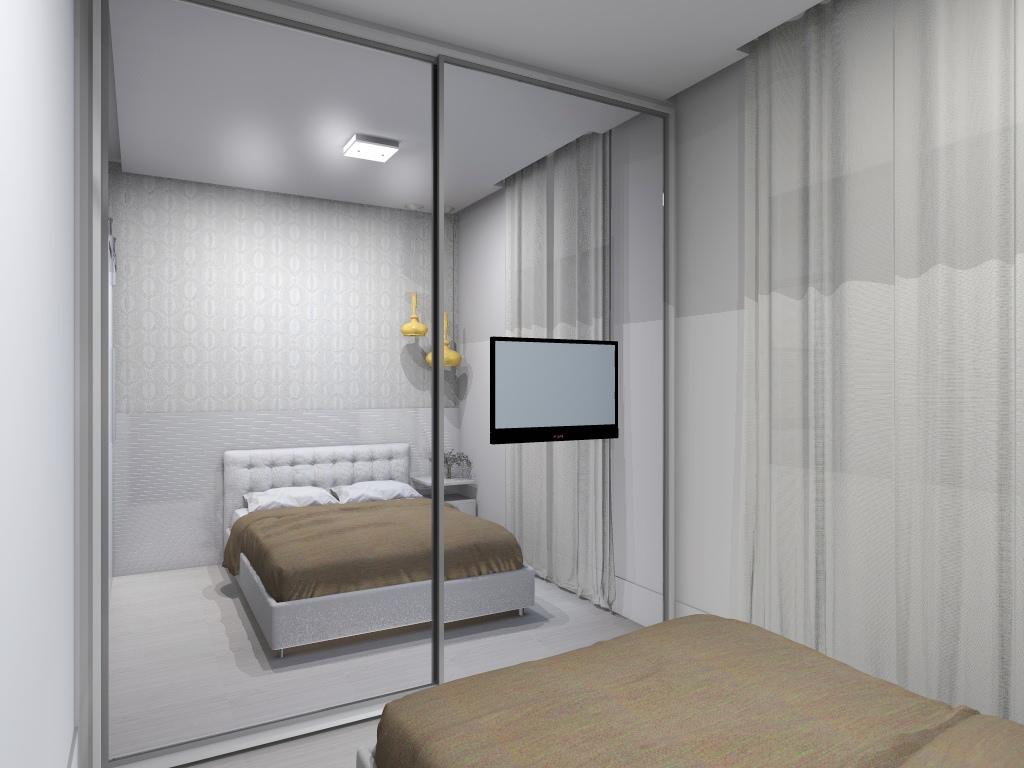 Projeto de interiores de um apartamento pequeno Dormitório do casal  #695E4F 1024 768
