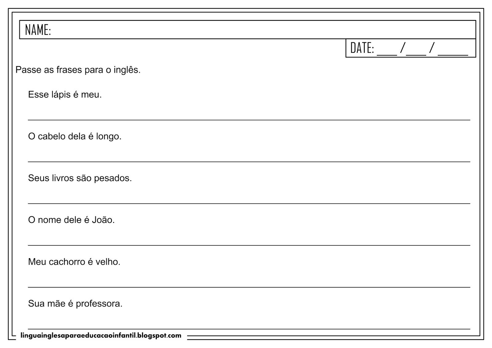 Atividade de inglês - Pronomes possessivos para educação infantil