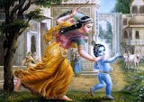Krishna bebê brincando com sua mãe Ieshodha