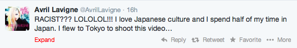 Avril Lavigne Twitter Reply Racism Hello Kitty video Japan